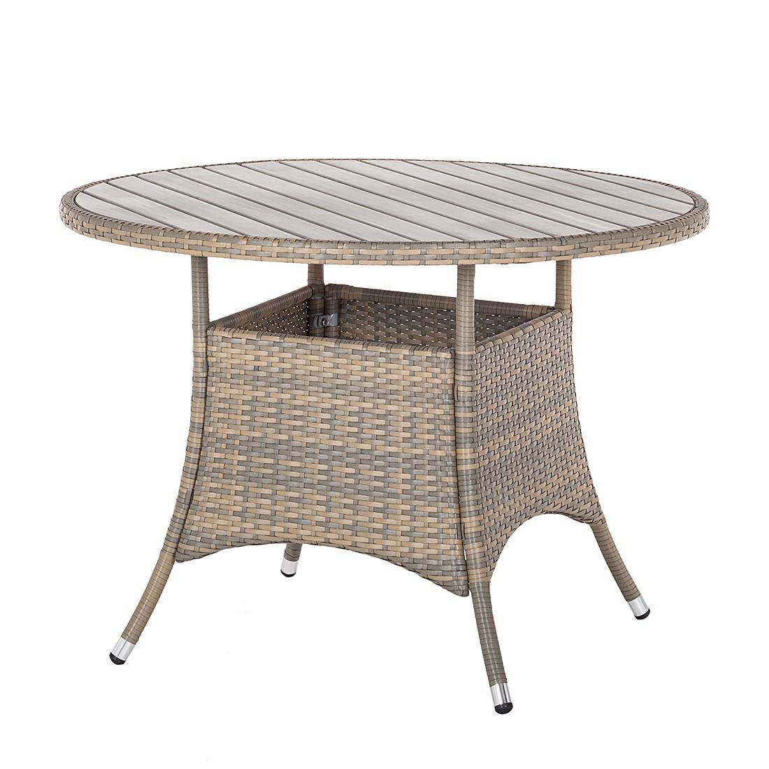 Tavolo da giardino Bena - Polyrattan Color antracite/Derivati del legno Grigio chiaro, Fredriks