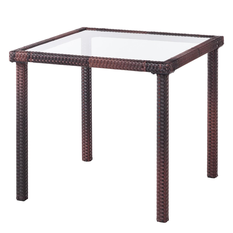 Table de jardin Paradise Lounge - Verre / Polyrotin - Marron, Fredriks