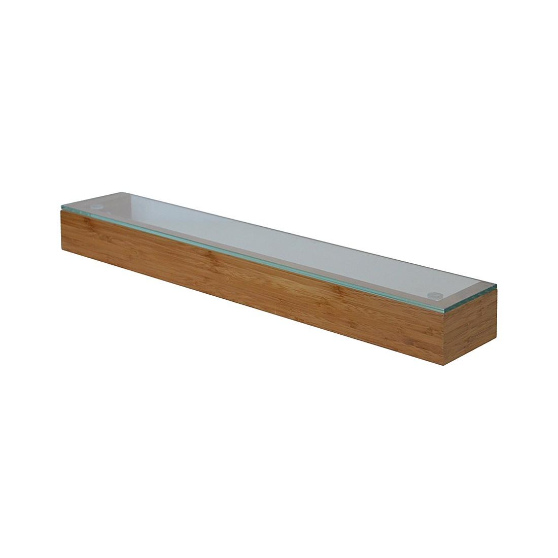 Wandplank met glas 55cm Arena - bamboe, Wireworks