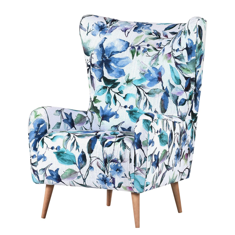 Fauteuil à oreilles Volon Matière tissée à plat - Blanc / Bleu - Motif floral, Maison Belfort