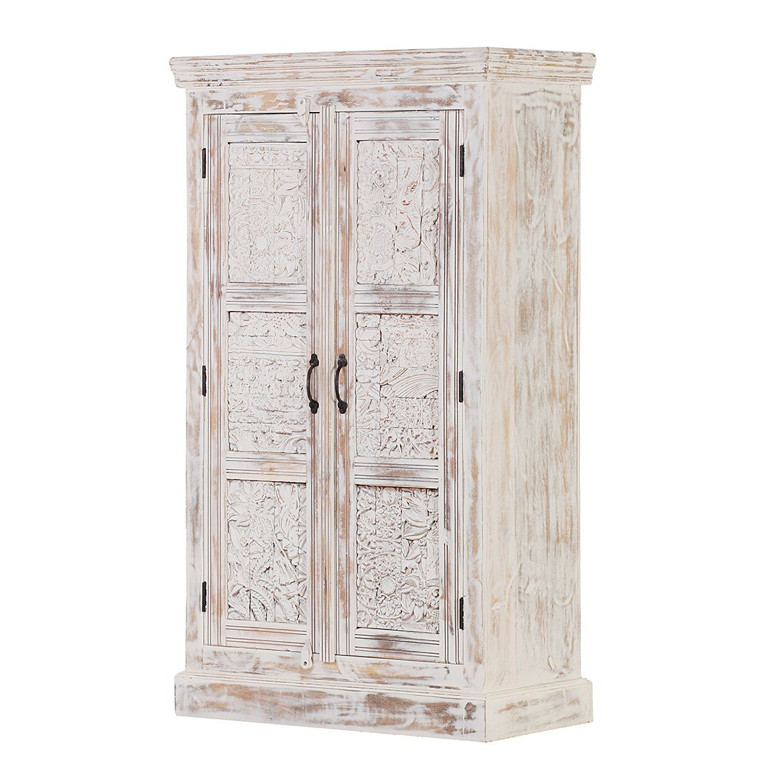 Armoire Madhya - Manguier partiellement massif Blanc, Red Living