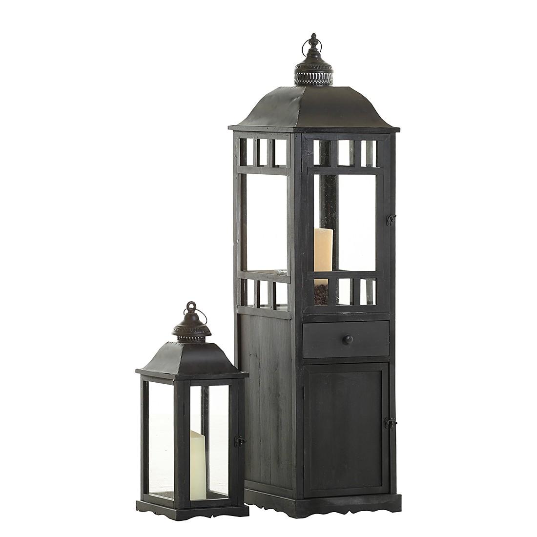 Home 24 - Lot de lanternes lampione i (2 éléments) - sapin partiellement massif noir, maison belfort