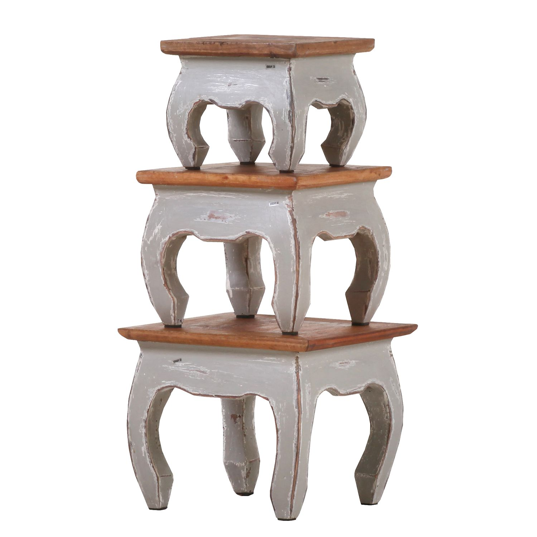 Set tavolini da salotto Nolada I (3 pezzi) Legno massello di recupero - Grigio, Ridgevalley