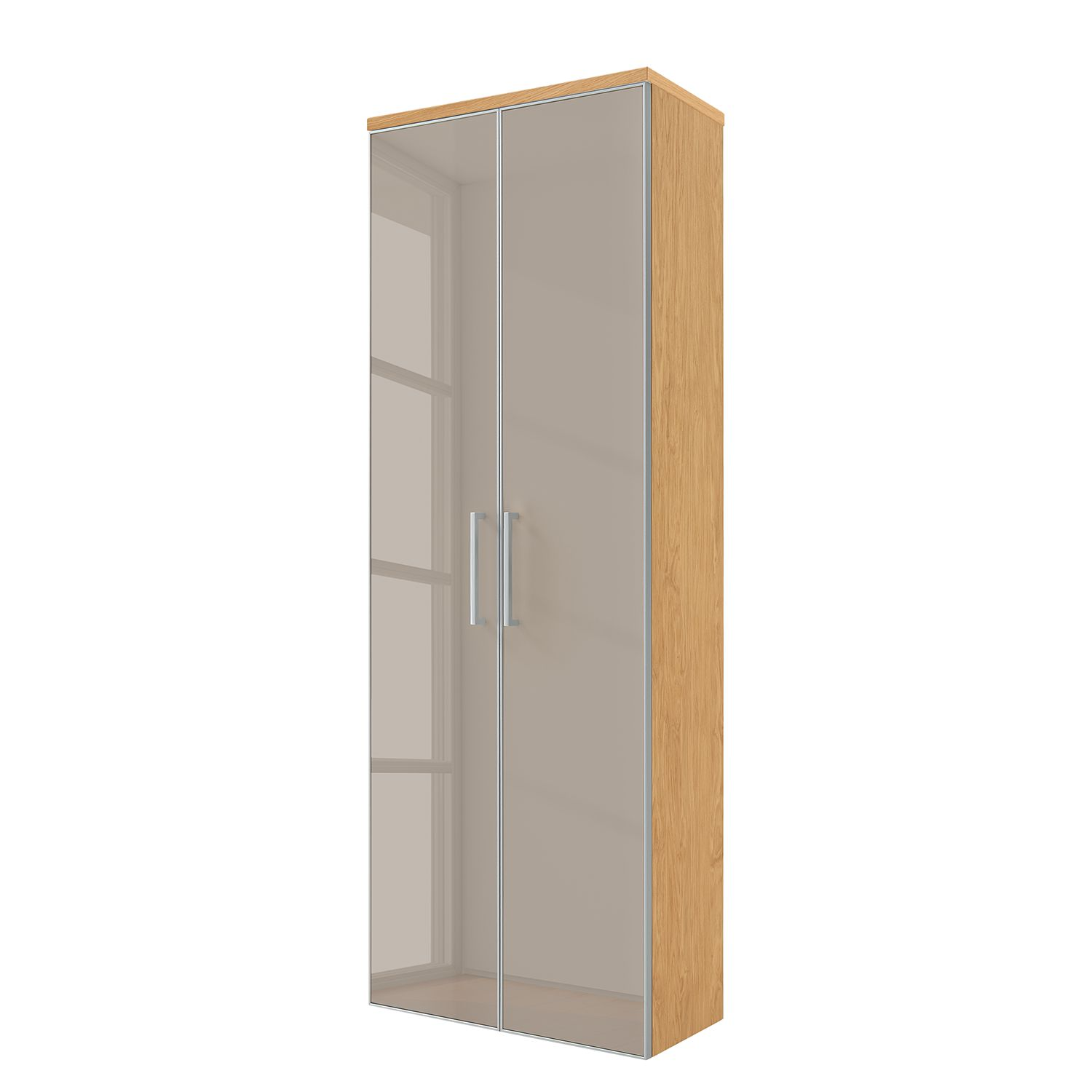Armoire murale Alavere - Taupe / Chêne Bianco, Voss