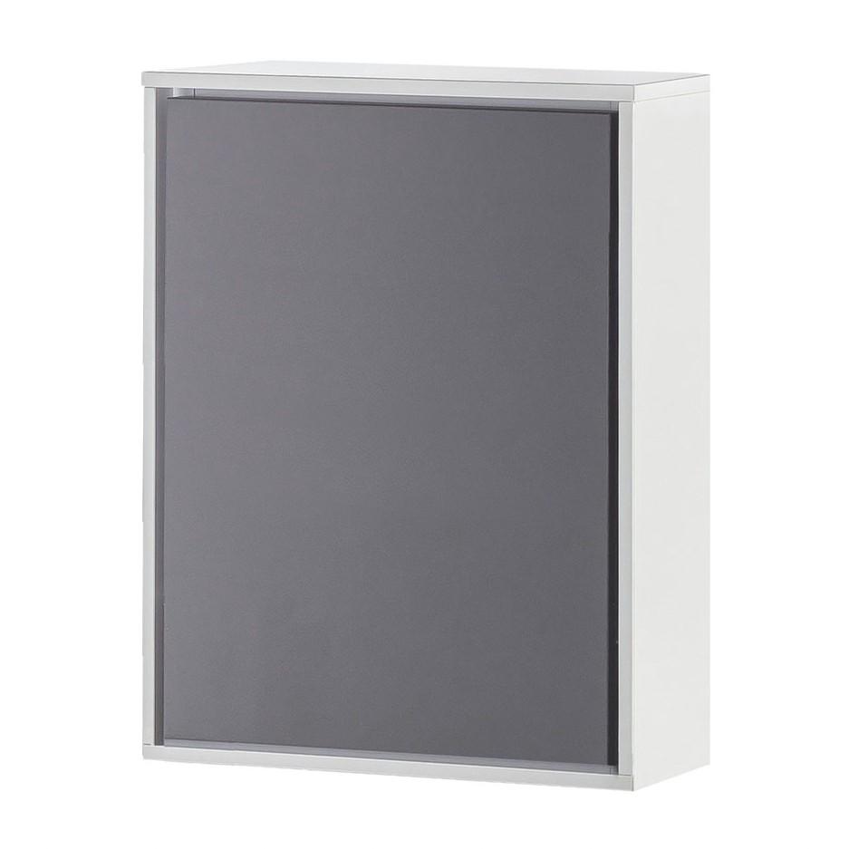 Armoire suspendue Bodo - Imitation hêtre / Basalte / Blanc mat, Schildmeyer