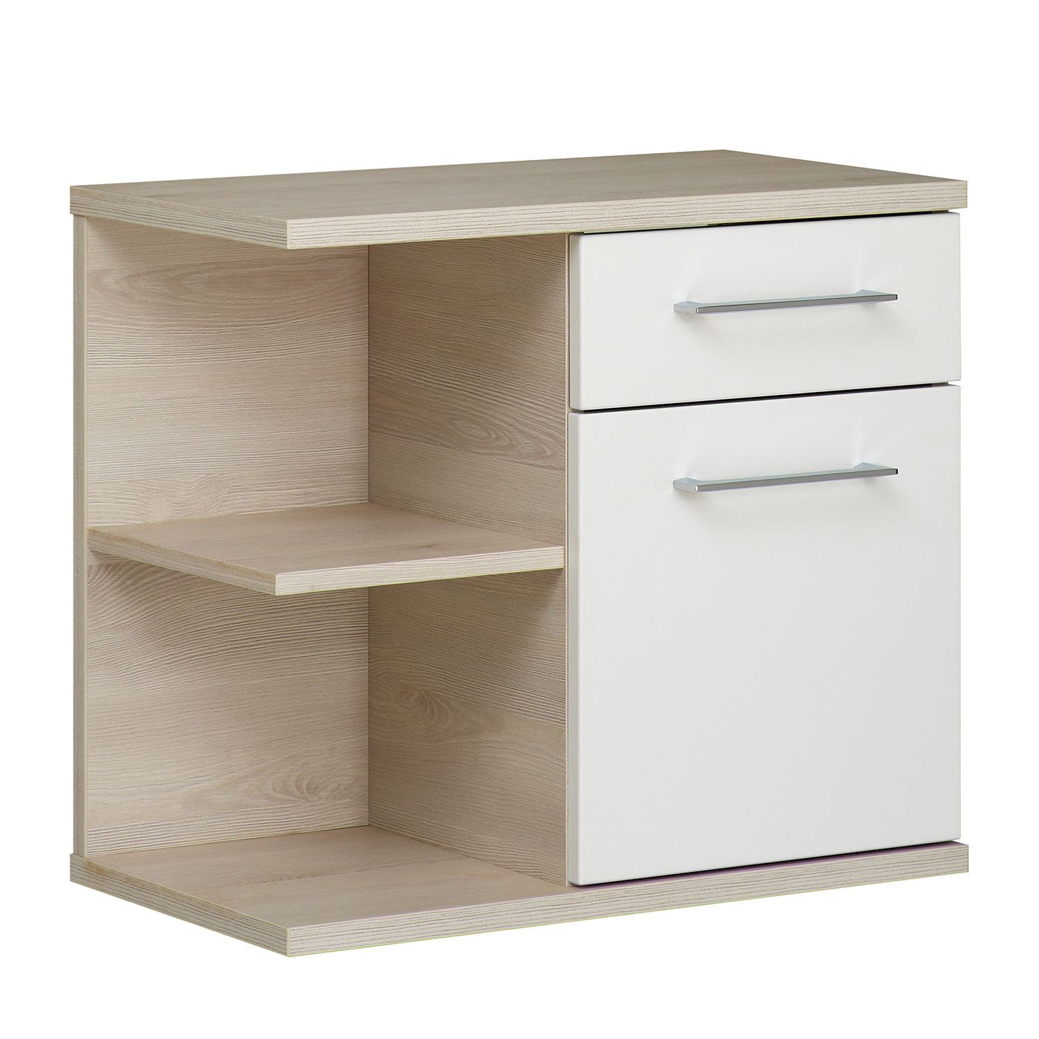 Armoire basse Fresh Line II - Imitation pin Ida clair / Blanc brillant, Pelipal
