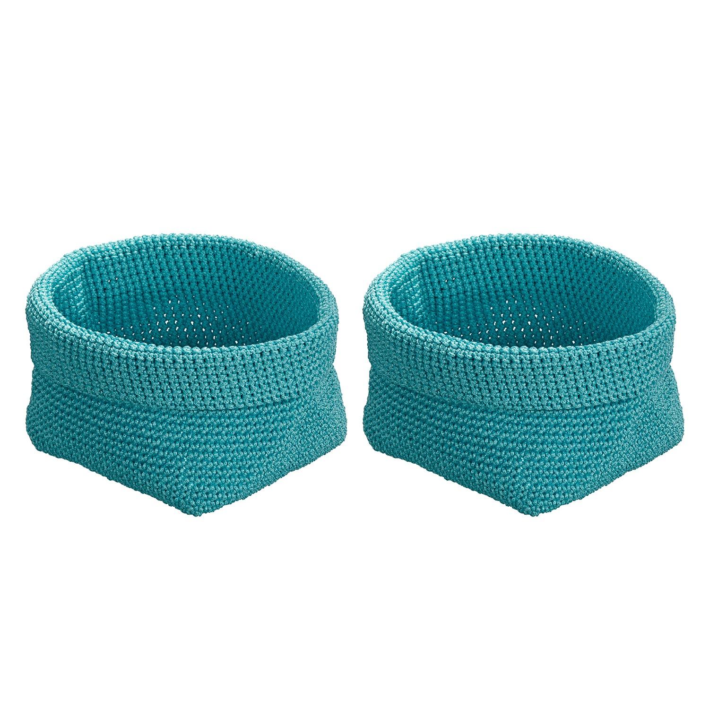 Home 24 - Panier crocheté malia (lot de 2) - turquoise, wenko
