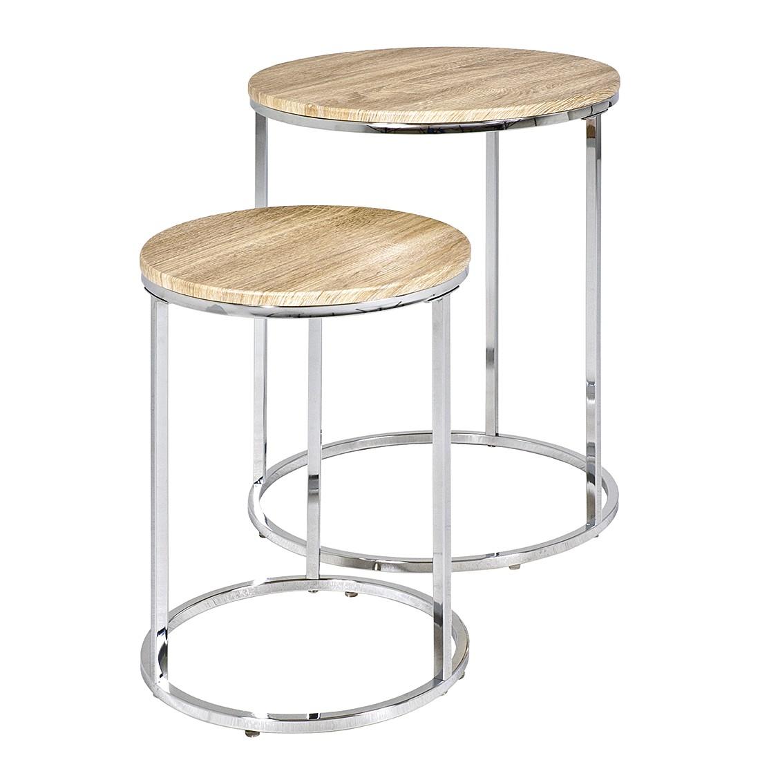 Tavolino Mirandela (in set da 2) - Cromo/Effetto quercia chiara, Home Design