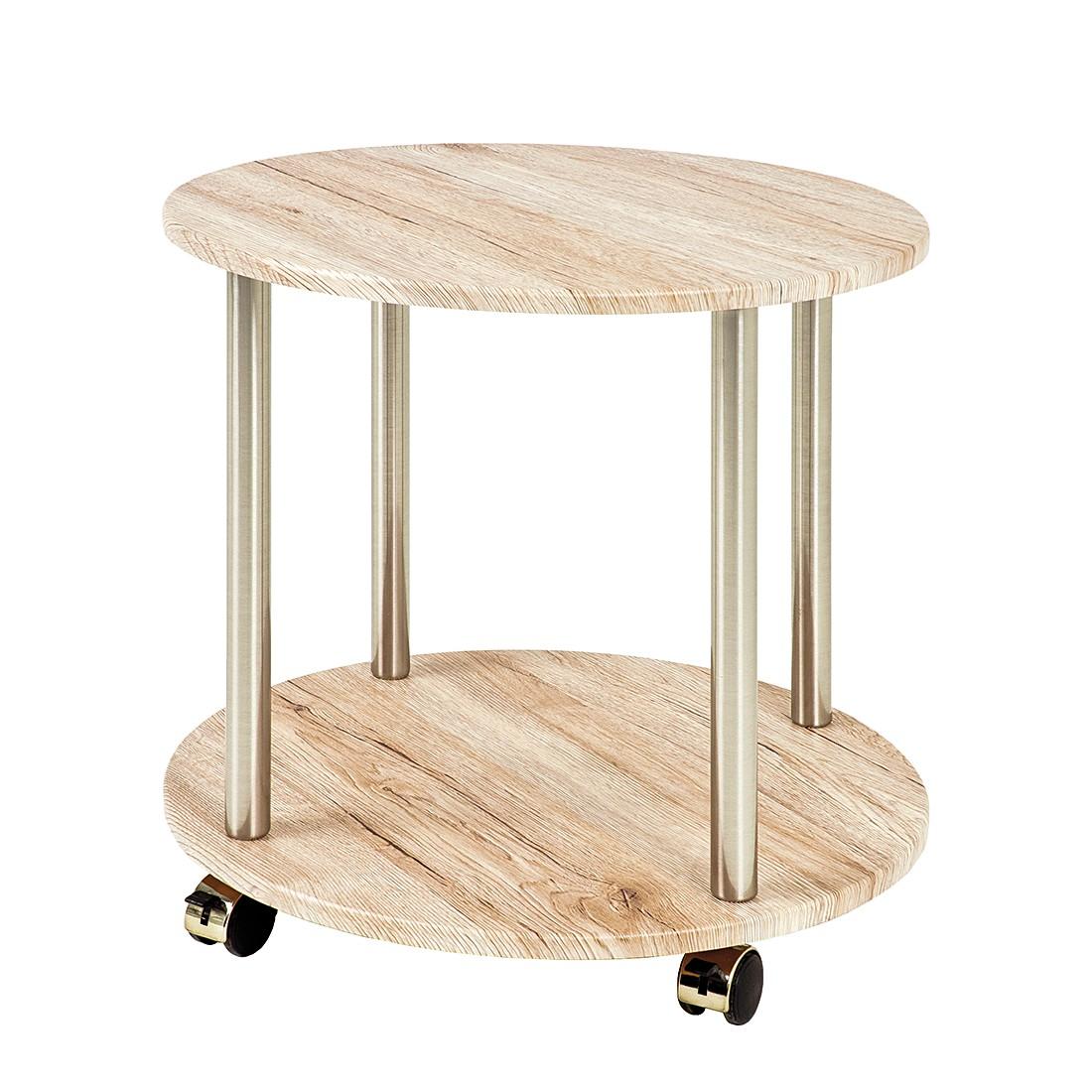 Tavolino con ruote herford iii - acciaio inox/effetto quercia di sanremo, Home Design