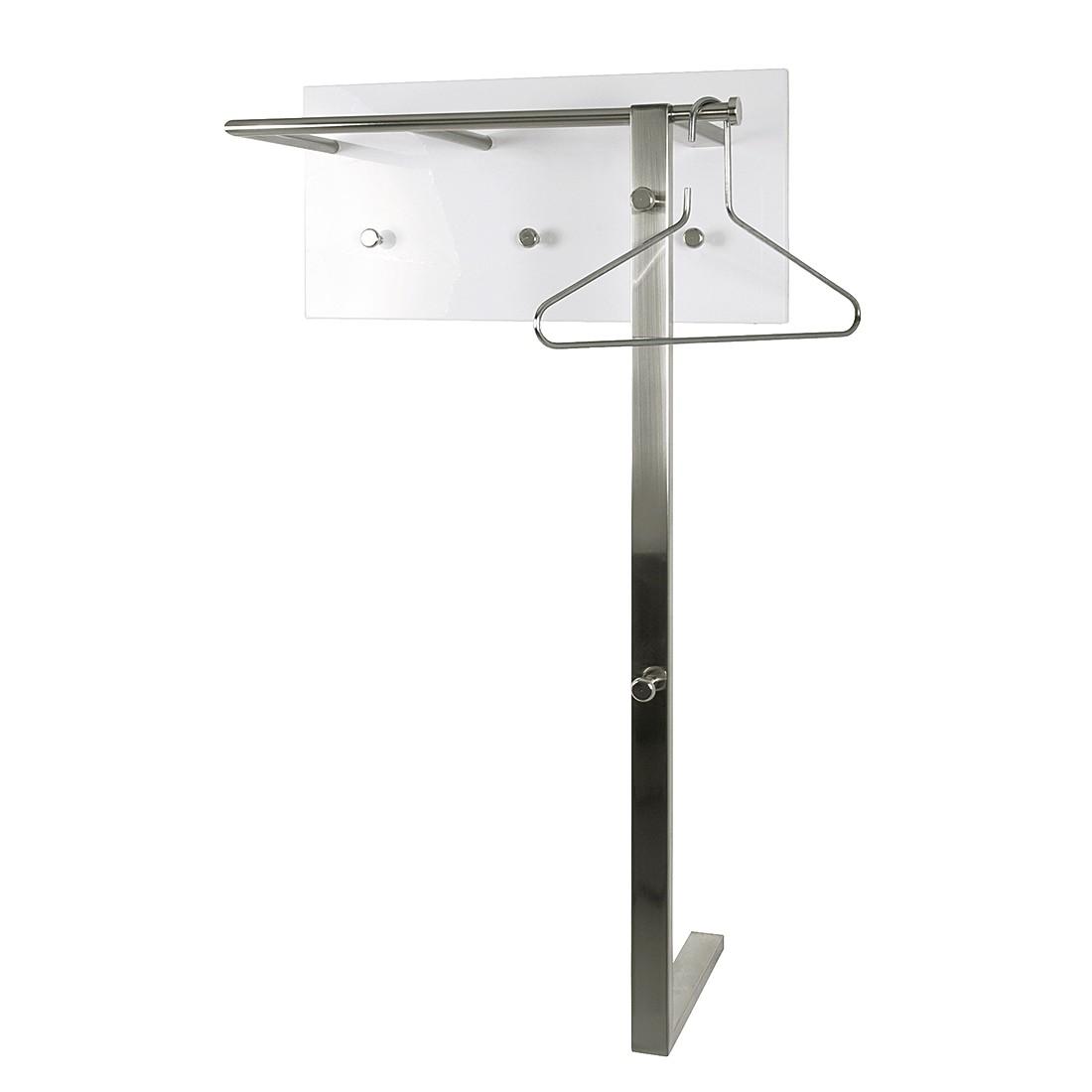 Wandgarderobe Felipe III - chroomkleurig/hoogglans wit, Home Design