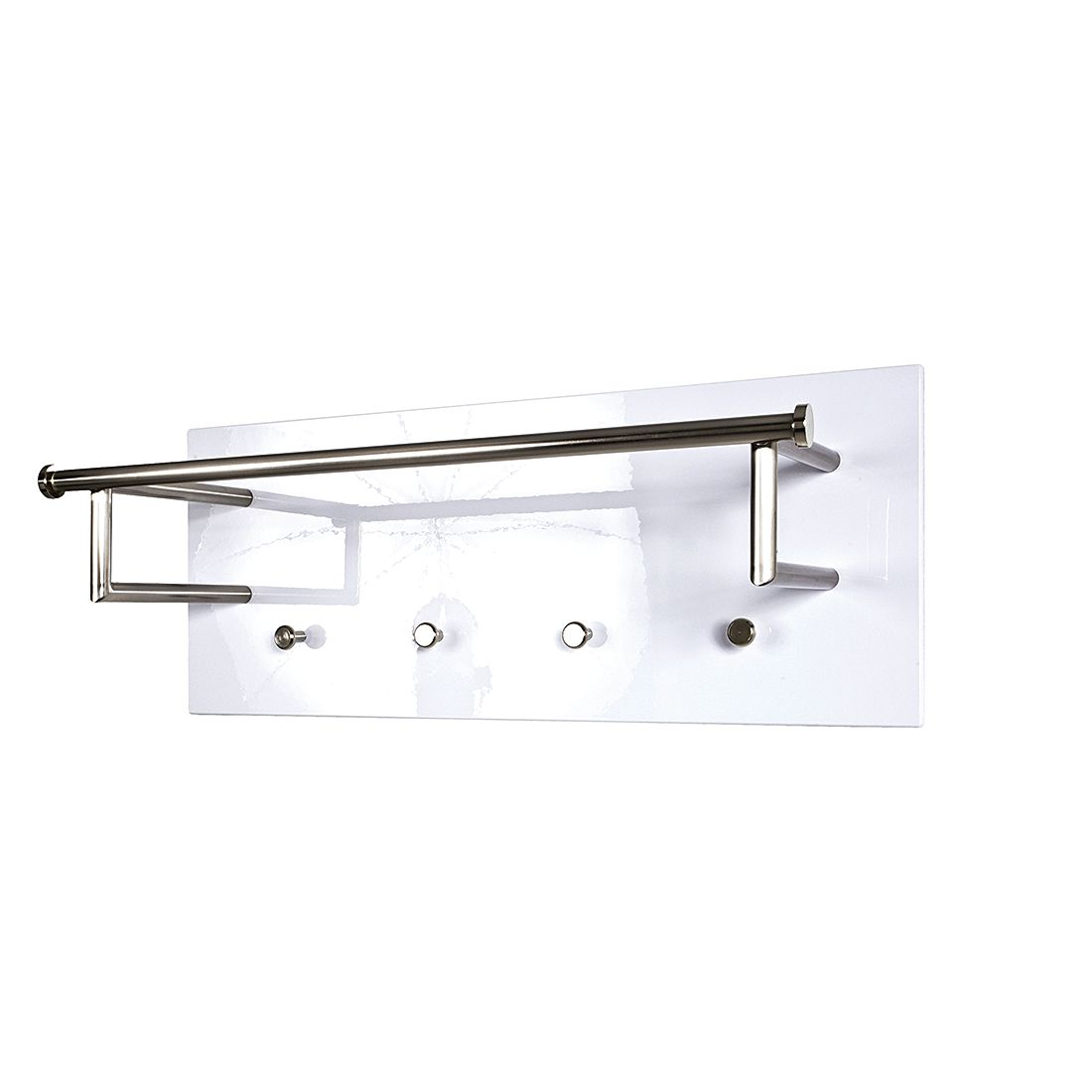 Wandgarderobe Felipe I - roestvrij staal/hoogglans wit, Home Design