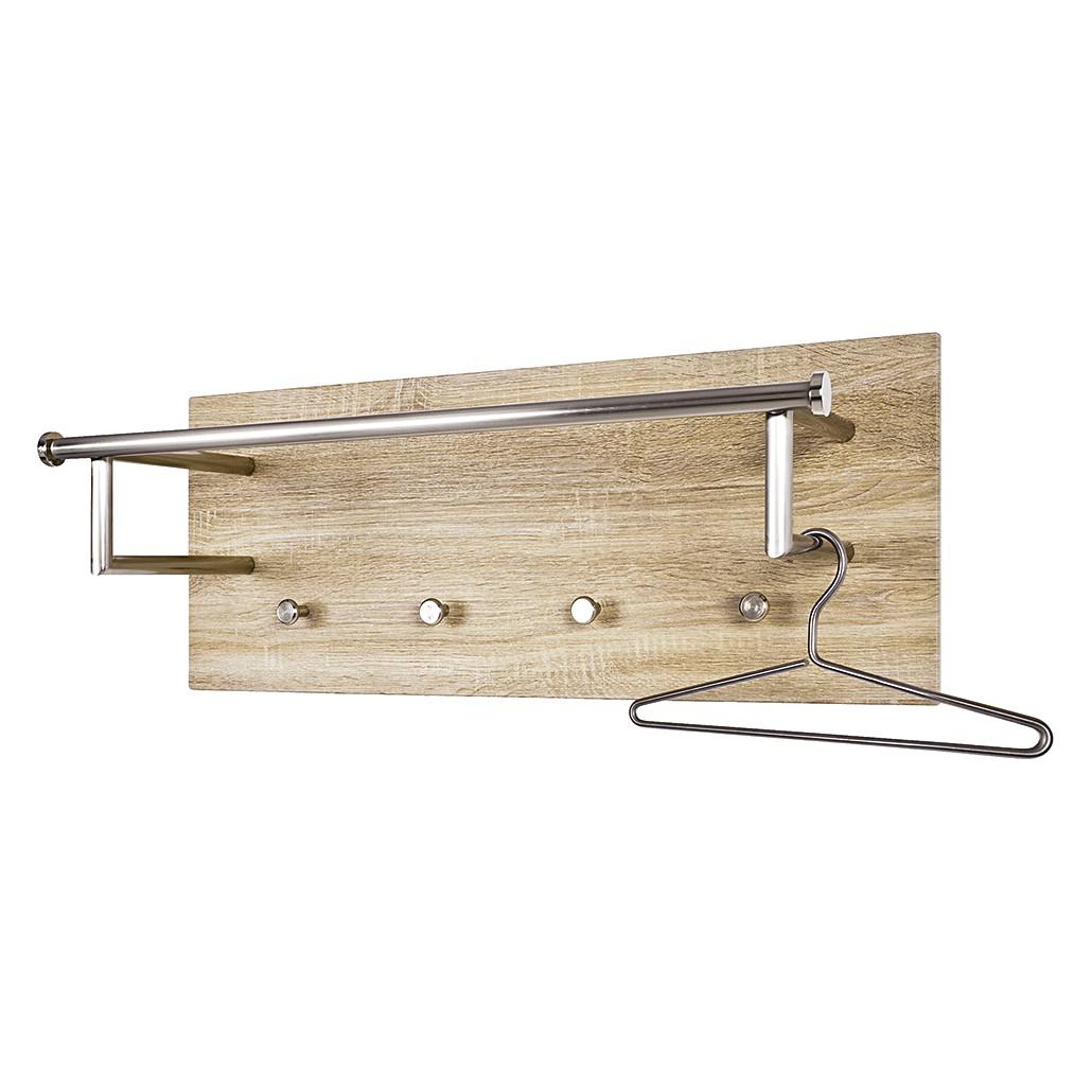 Wandgarderobe Felipe I - roestvrij staal/licht eikenhouten look, Home Design