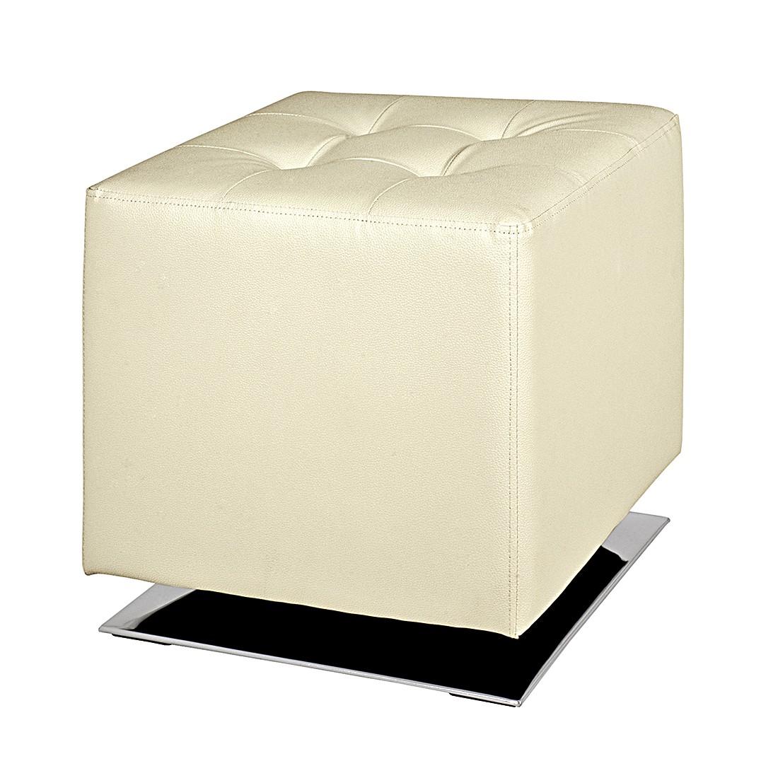 Gestoffeerde hocker Trafalgar - crèmekleurig kunstleer, Home Design