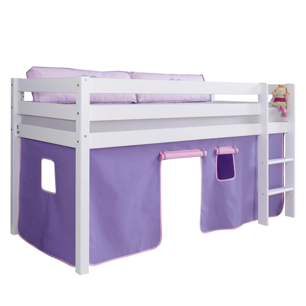 Halbhochbett Alex - Buche massiv - Weiß lackiert - mit Vorhang in Purple/Rosa, Relita