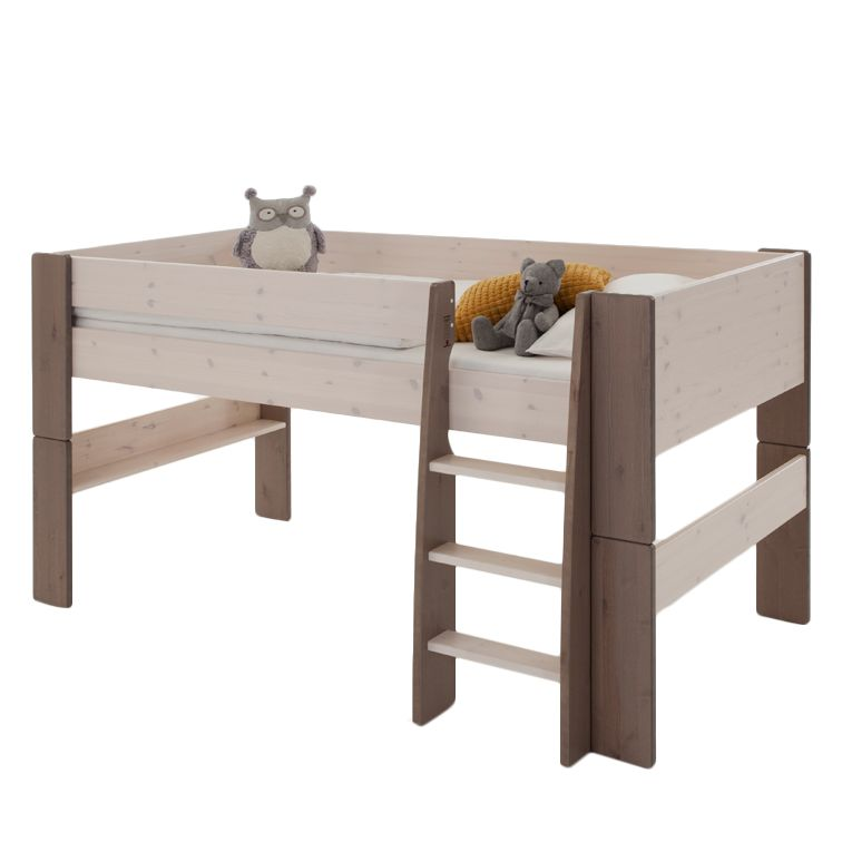 Lit mezzanine Steens for Kids - Pin massif - Blanc lavé / Couleur pierre, Steens