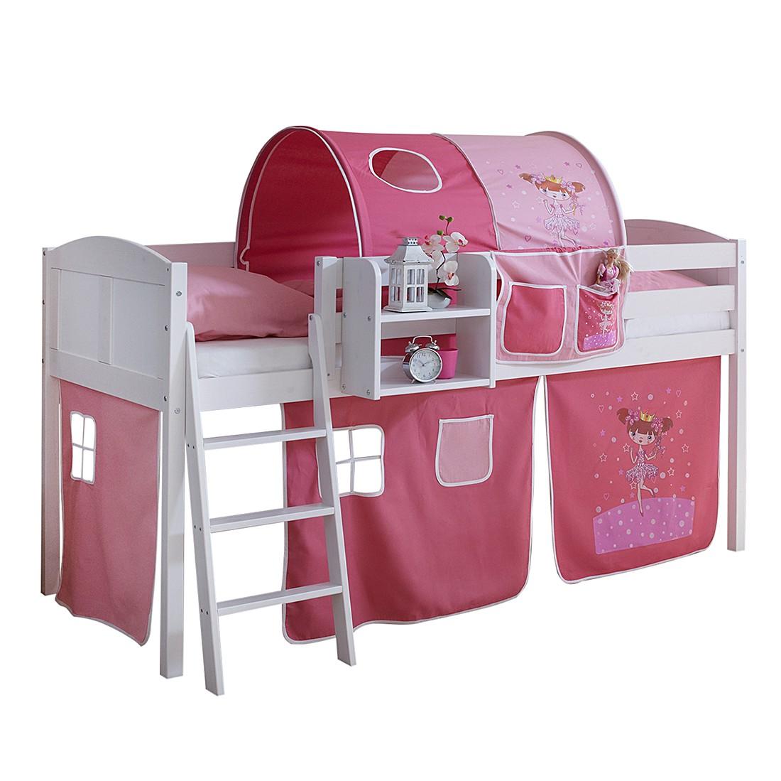 halbhochbett eric motiv kiefer massiv textil wei pink mit tunnel ticaa g nstig. Black Bedroom Furniture Sets. Home Design Ideas
