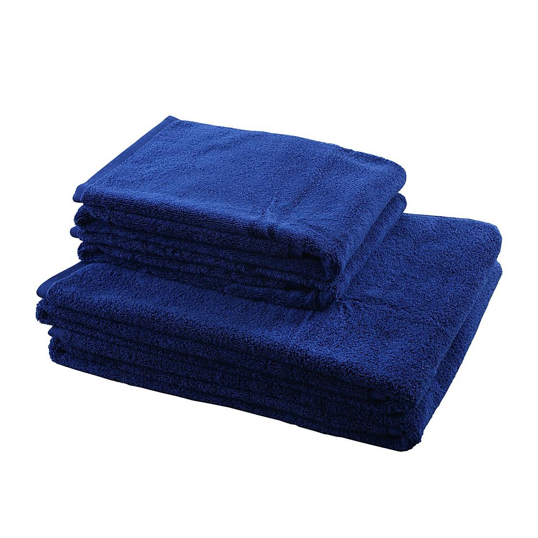 Home 24 - Ensemble de linges de toilette de bains pure (4 éléments) - 100 % coton - bleu foncé, stilana
