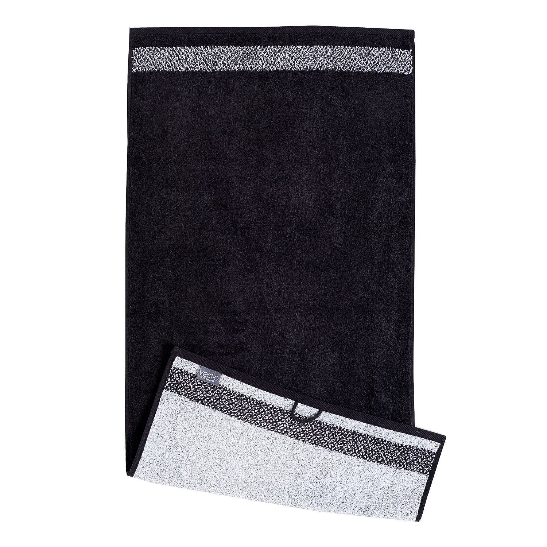 Home 24 - Serviette de toilette borgo (lot de 2) - coton - noir / blanc, vestio