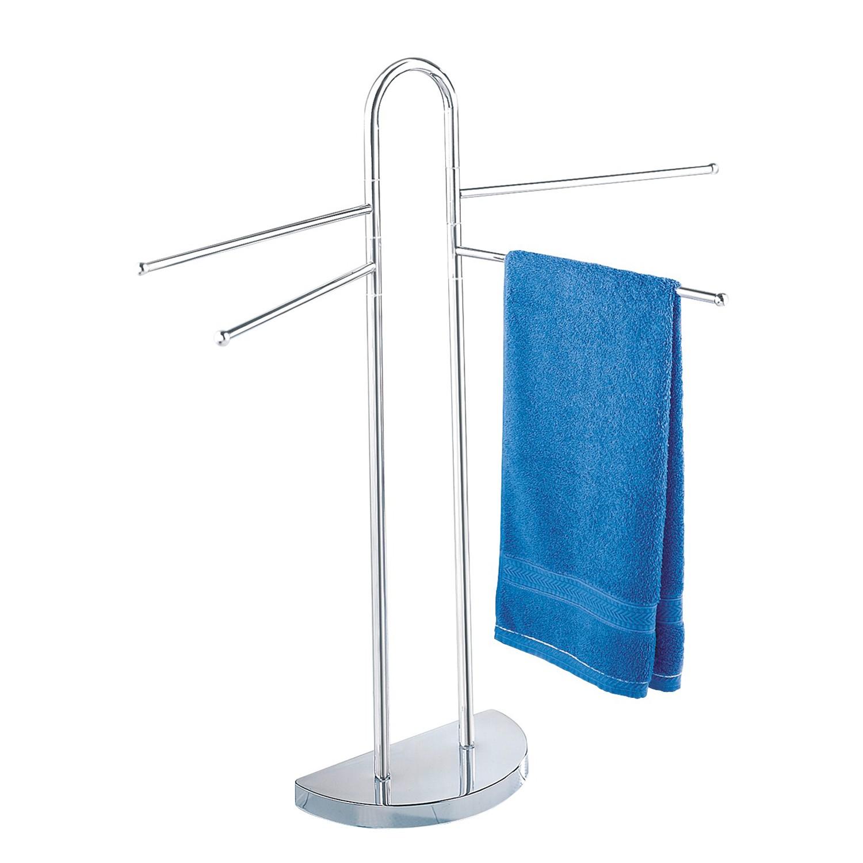 Handdoek- en kledingstandaard - halfronde voet - 4 beweegbare armen - chroom, Wenko