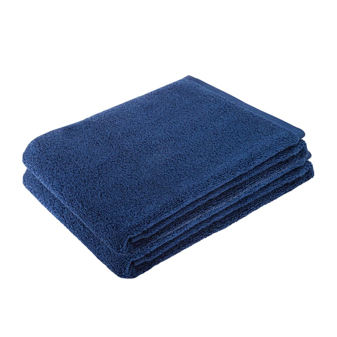 Home 24 - Ensemble de linges de toilette pure (2 éléments) - 100 % coton - bleu foncé, stilana