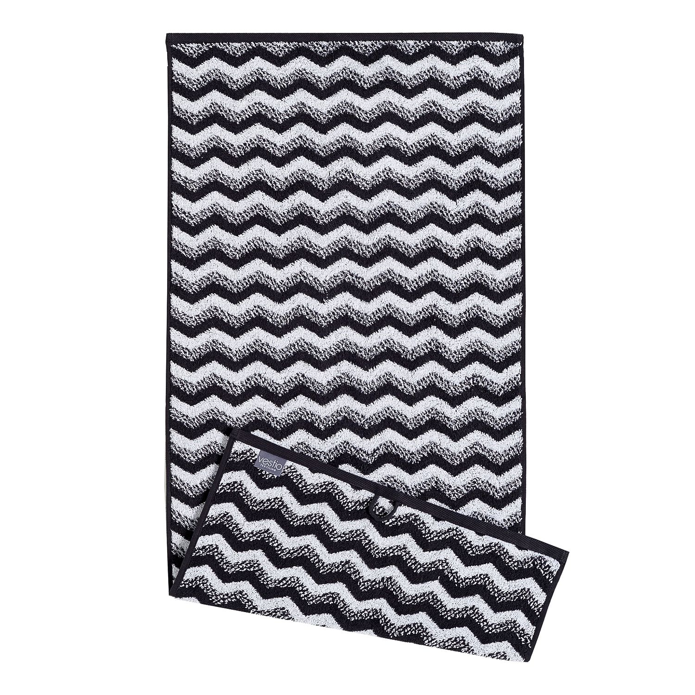 Home 24 - Serviette de toilette zonza (lot de 2) - coton - noir / blanc, vestio
