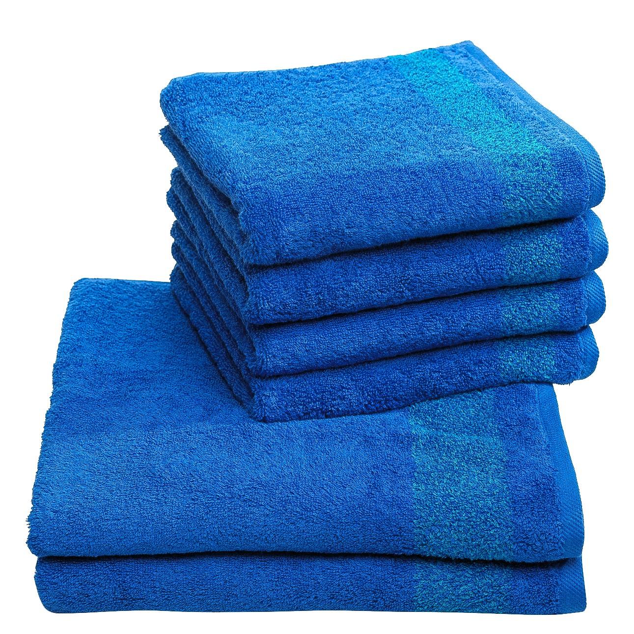 Handdoeken Borgo (6-delige set) - katoen - Blauw, Vestio