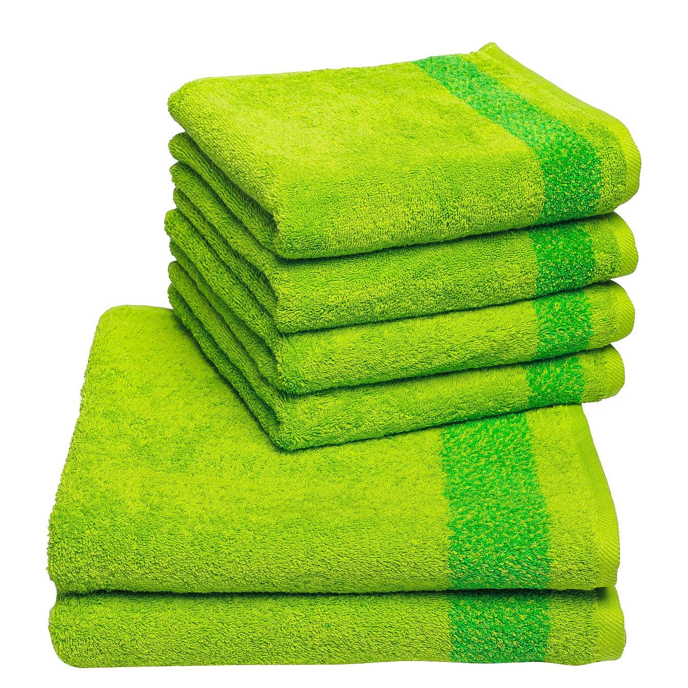 Handdoeken Borgo (6-delige set) - katoen - Groen, Vestio