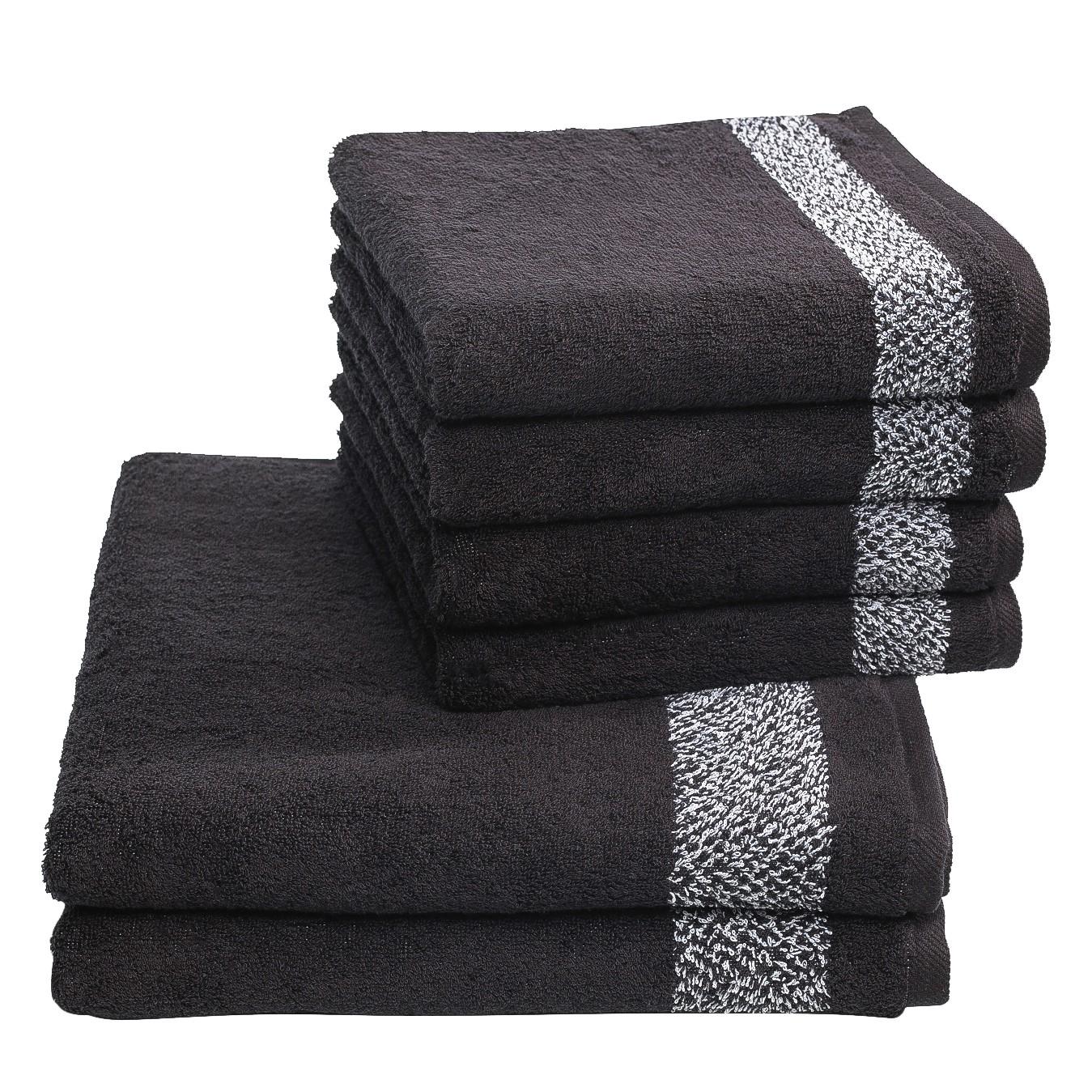 Home 24 - Set de serviettes de toilette borgo (6 éléments) - coton - noir / blanc, vestio