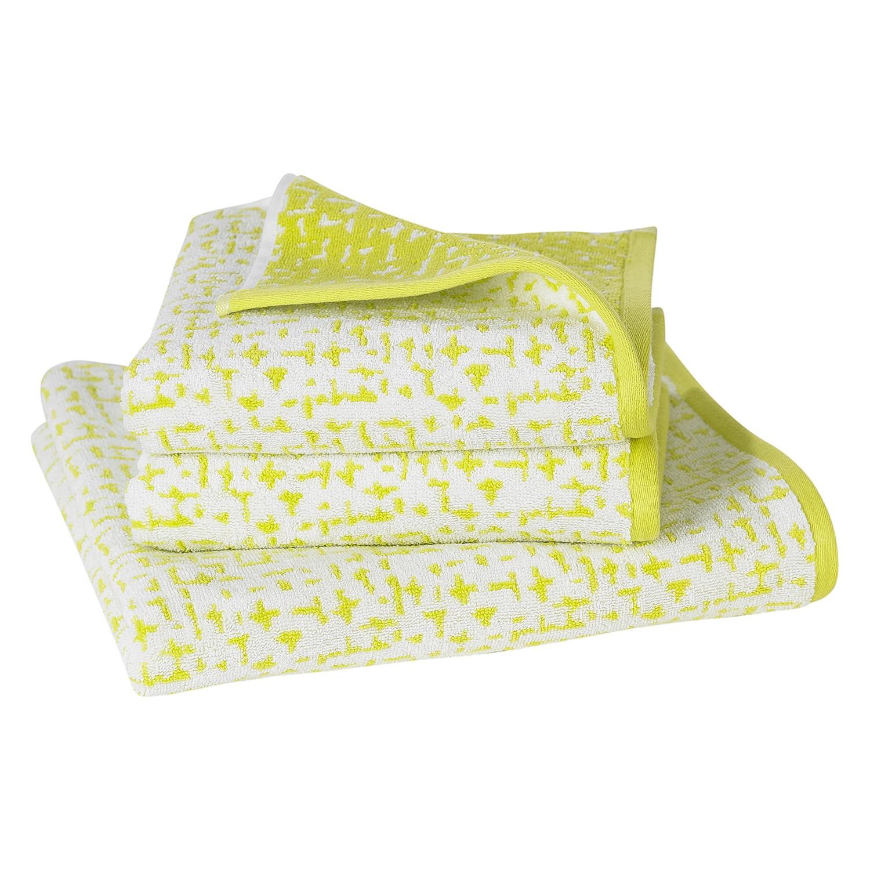 Handdoeken Jackson (3-delige set) - katoen - Lime/crème, Vestio