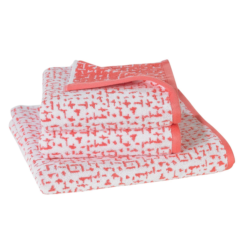 Handdoeken Jackson (3-delige set) - katoen - Rood/crèmekleurig, Vestio