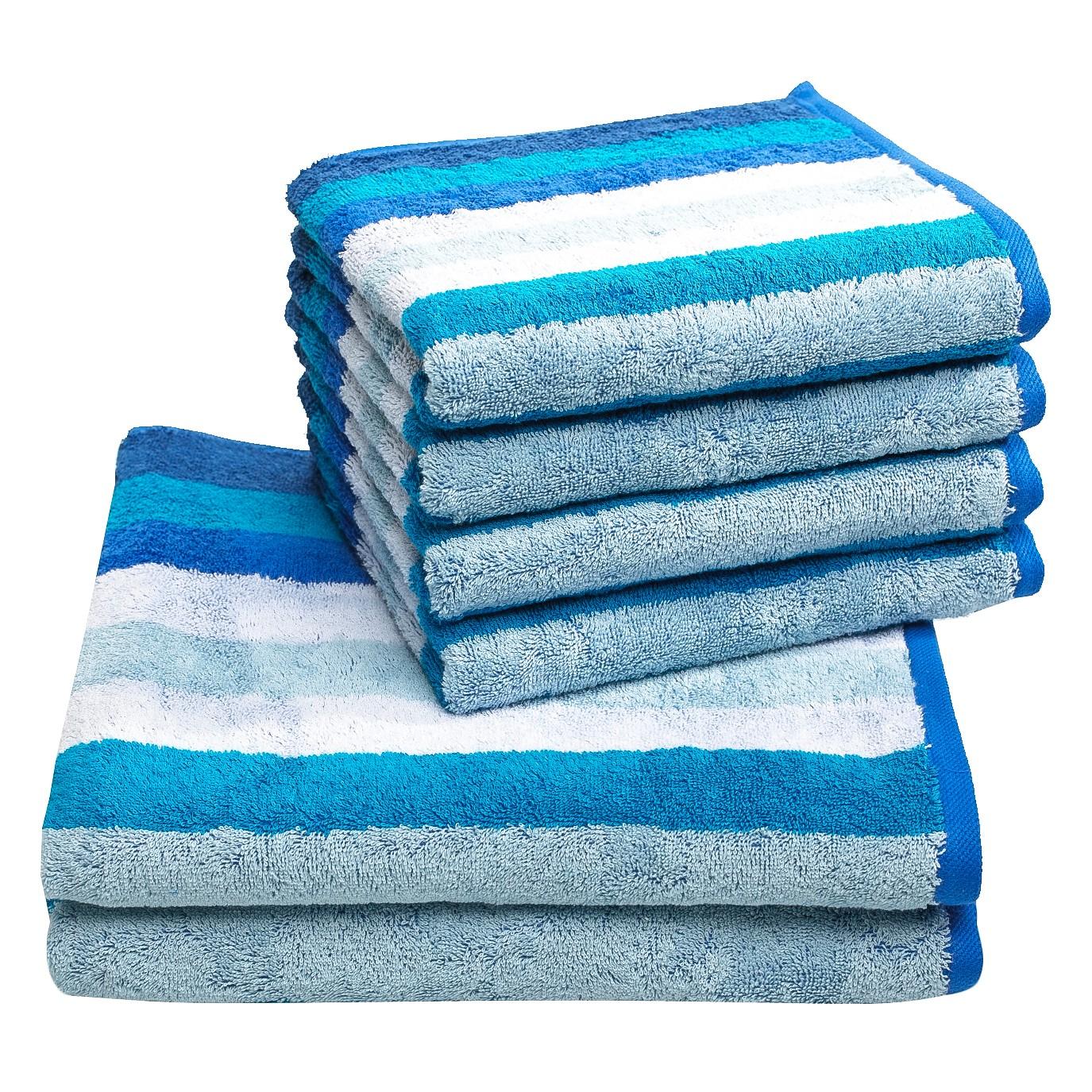 Handdoeken Sisco (6-delige set) - katoen - Blauw, Vestio