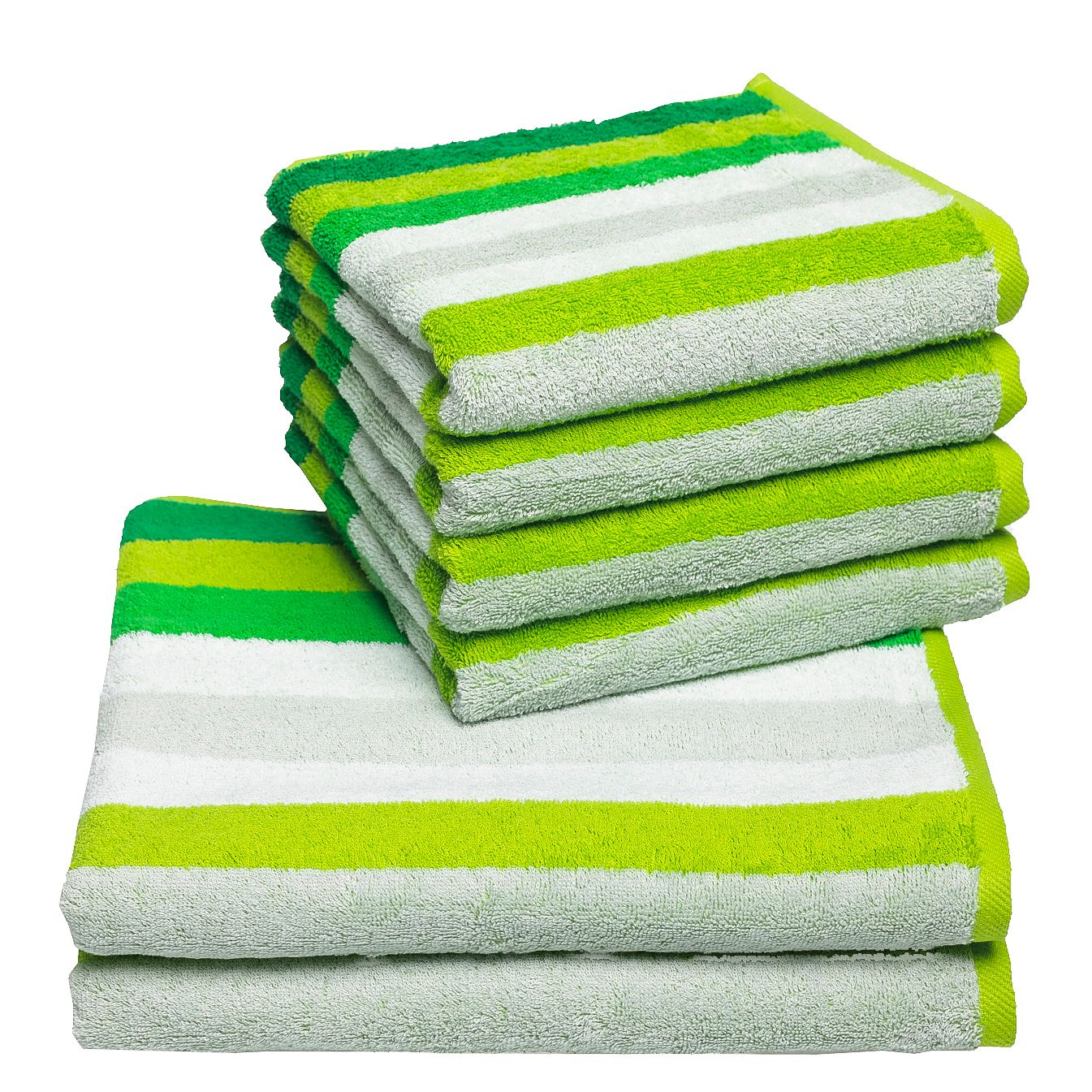 Home 24 - Set de serviettes de toilette sisco (6 éléments) - coton - vert, vestio