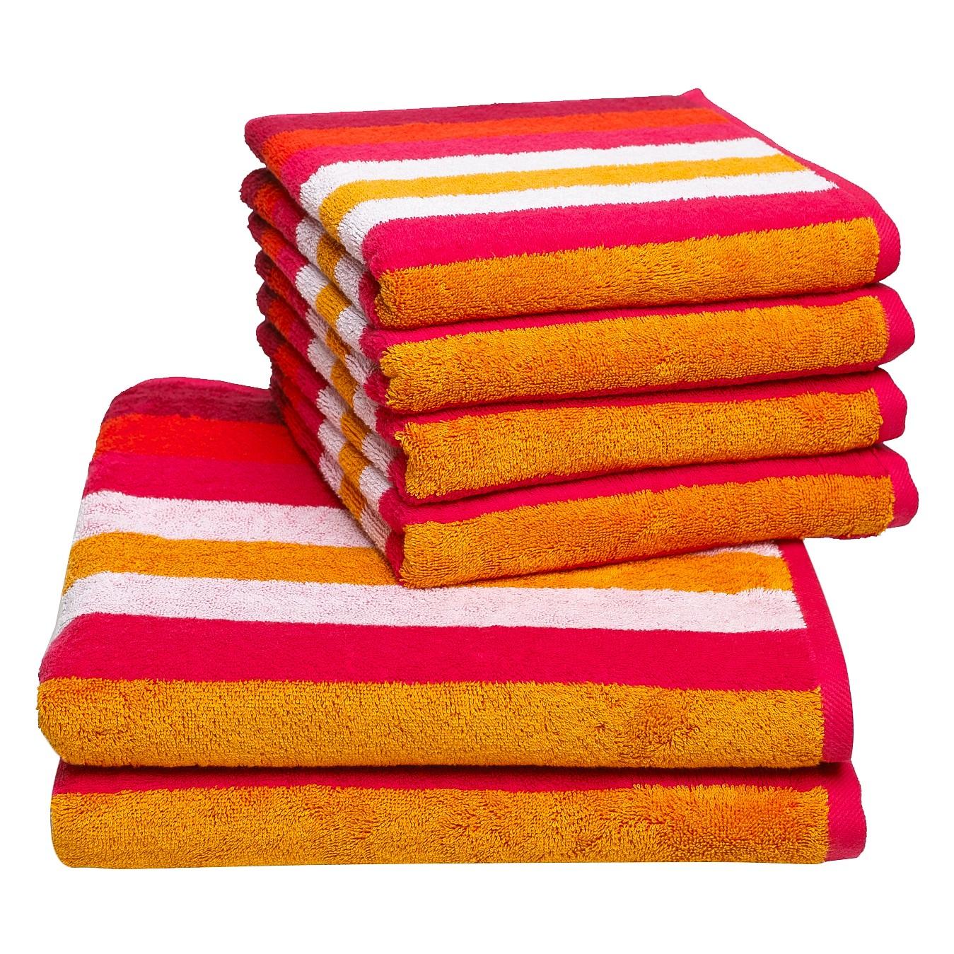 Handdoeken Sisco (6-delige set) - katoen - Rood, Vestio