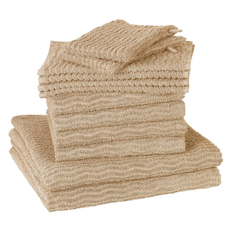 Home 24 - Set de serviettes de toilette wave (12 éléments) - coton - beige, vestio