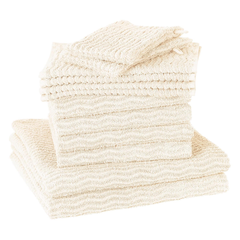 Home 24 - Set de serviettes de toilette wave (12 éléments) - coton - blanc crème, vestio
