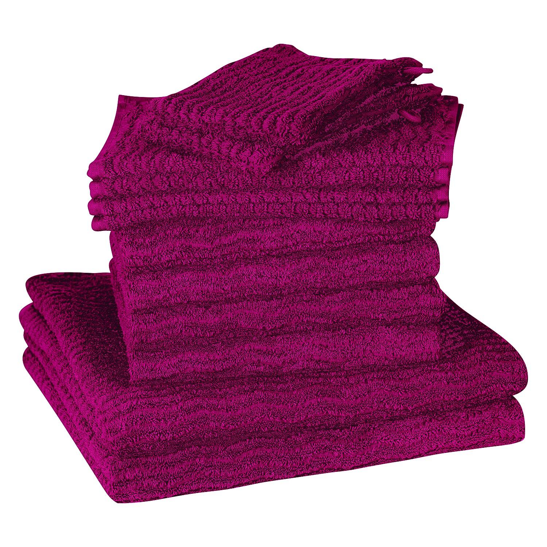 Handdoeken Wave (12-delige set) - katoen - Fuchsia, Vestio