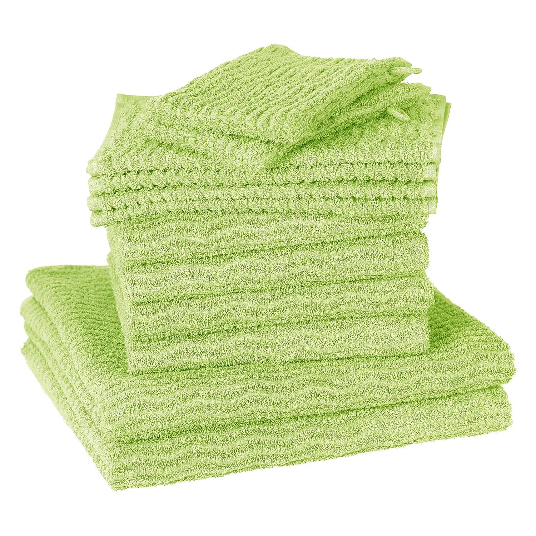 Handdoeken Wave (12-delige set) - katoen - Pistache groen, Vestio