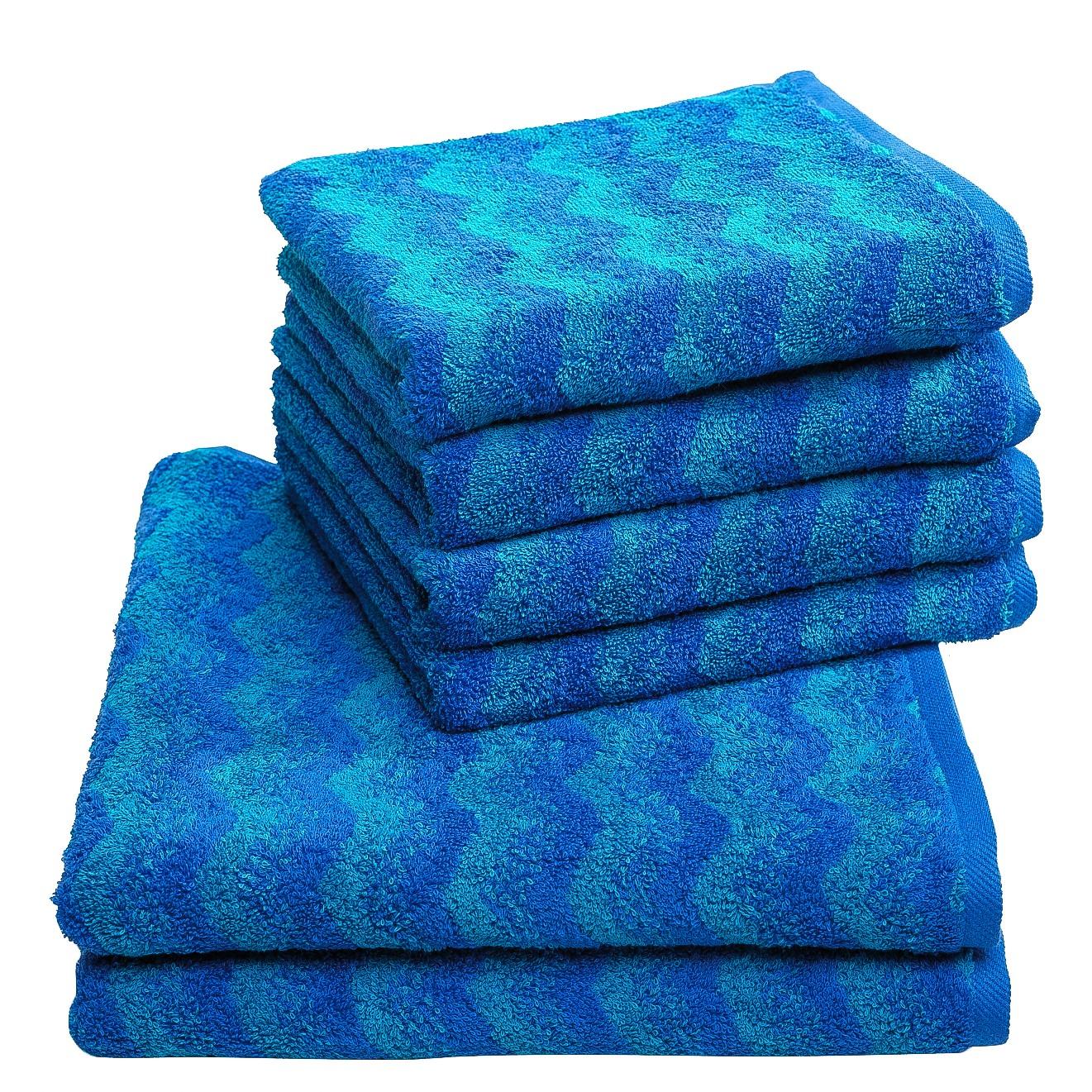 Home 24 - Set de serviettes de toilette zonza (6 éléments) - coton - bleu, vestio