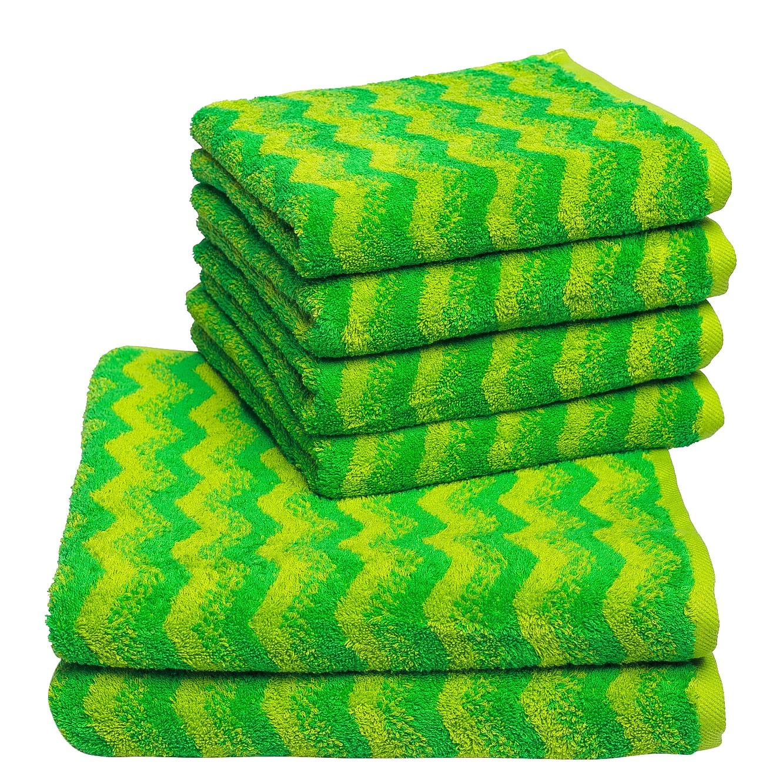 Handdoeken Zonza (6-delige set) - katoen - Groen, Vestio