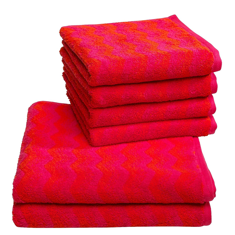 Handdoeken Zonza (6-delige set) - katoen - Rood, Vestio