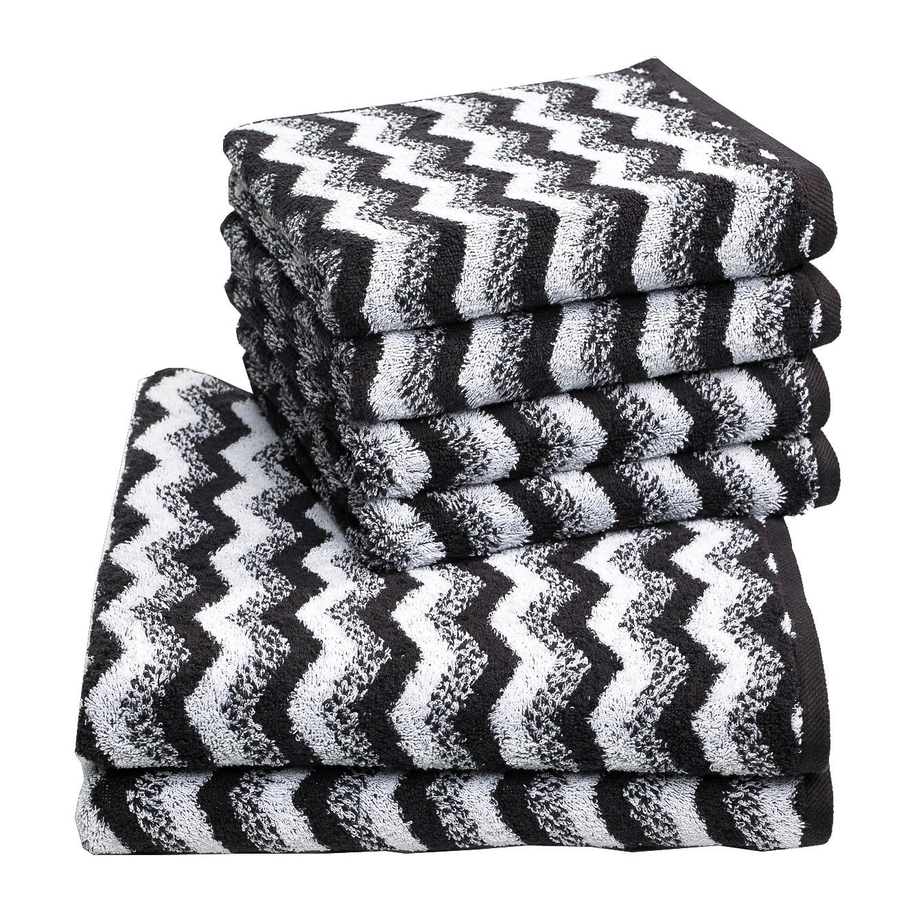 Handdoeken Zonza (6-delige set) - katoen - Zwart/wit, Vestio