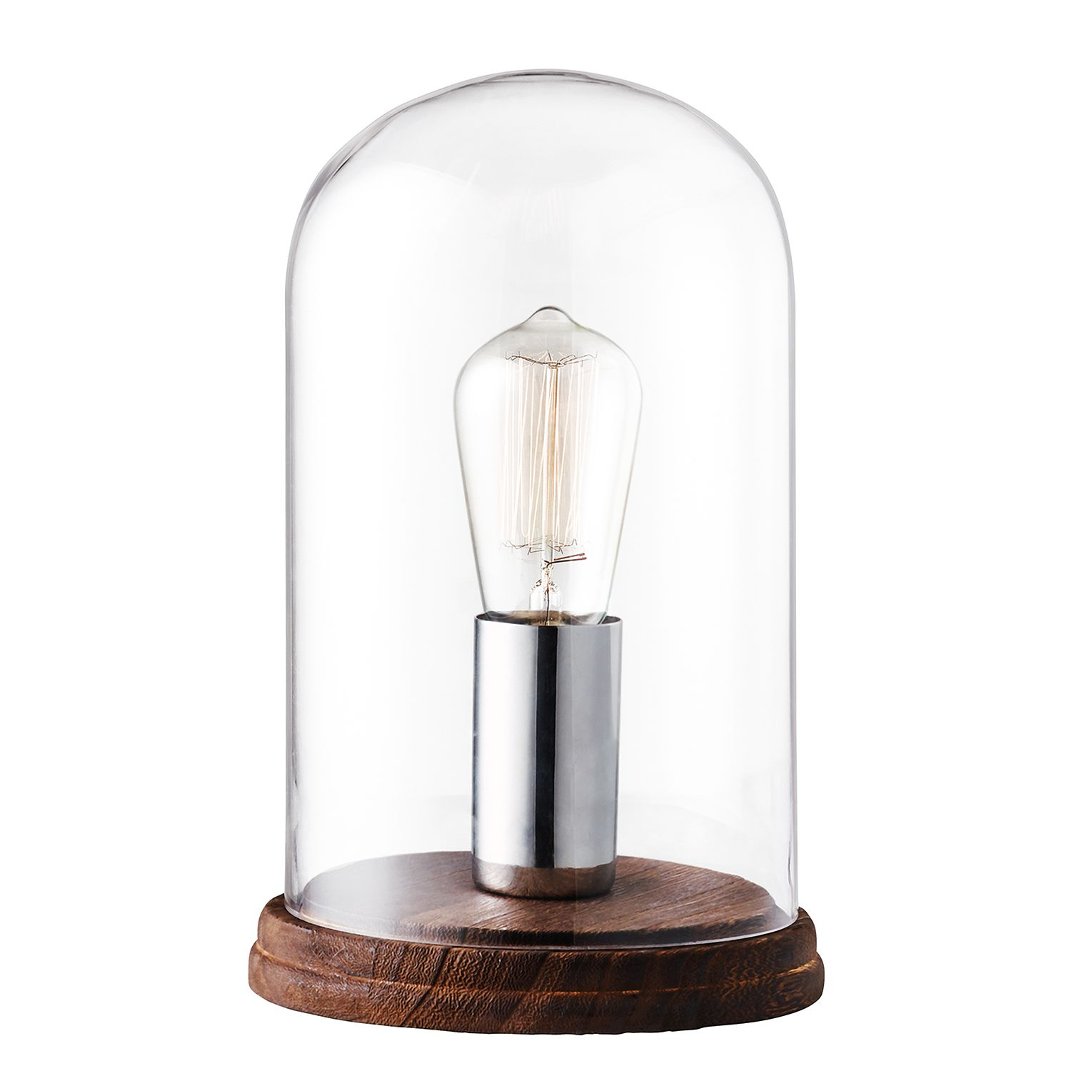 EEK A++, Lampe de table Manola - Verre / Métal - 1 ampoule - Chrome, Herstal