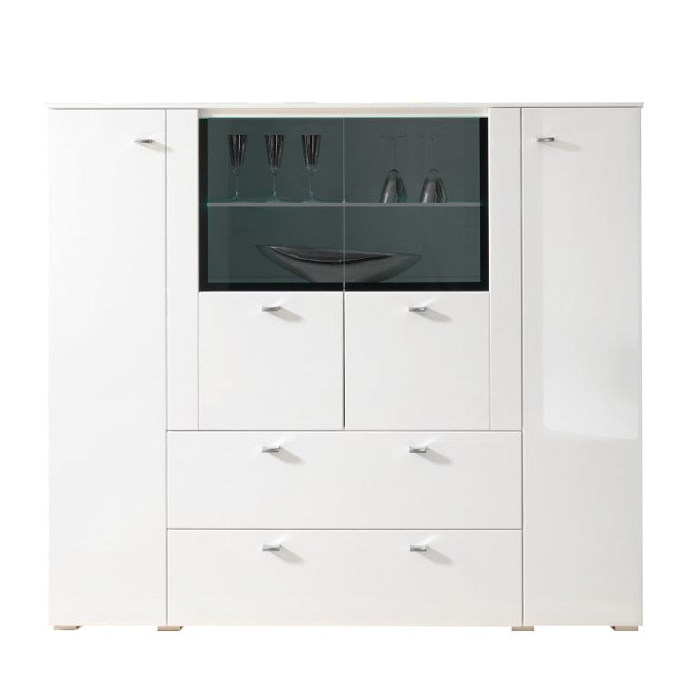 Highboard Arminto hoogglans wit-wit, roomscape
