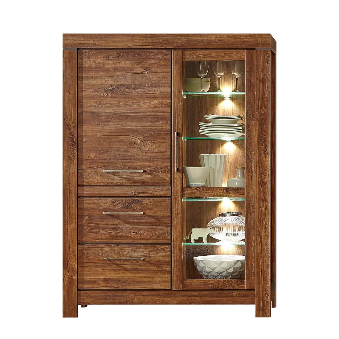 EEK A+, Armoire vitrine Blairmore (éclairage fourni) I - Imitation acacia, loftscape