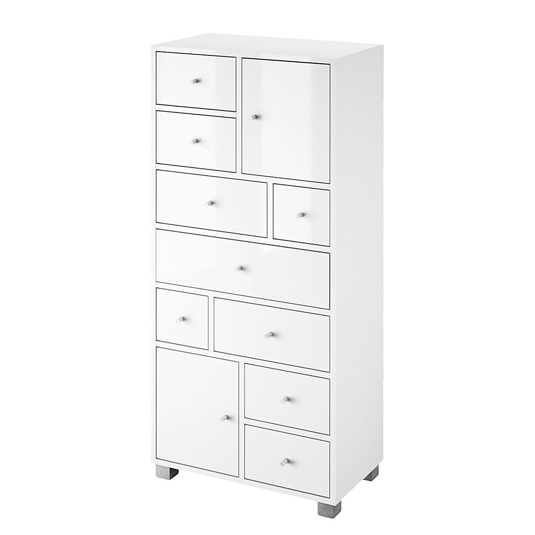 Highboard Aliane - Panama eikenhouten look/bont - Wit, Schildmeyer