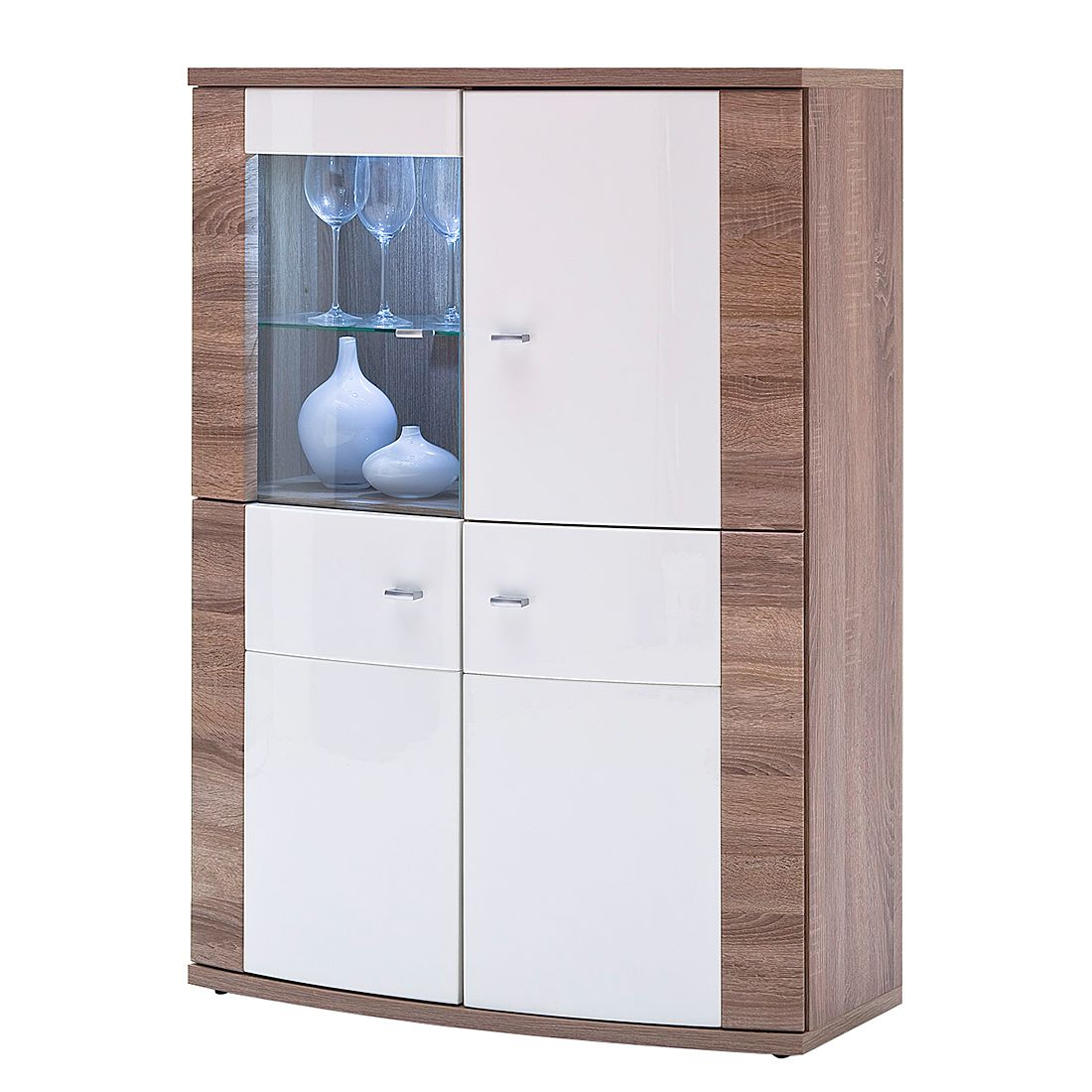 highboard sunja hochglanz wei tr ffeleiche dekor modoform g nstig schnell einkaufen. Black Bedroom Furniture Sets. Home Design Ideas
