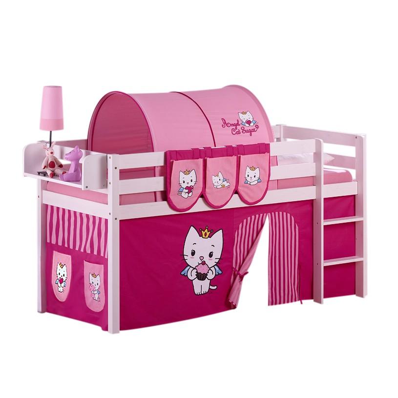 Lit mezzanine ludique JELLE Angel Cat Sugar - Avec rideaux - Blanc, Lilokids