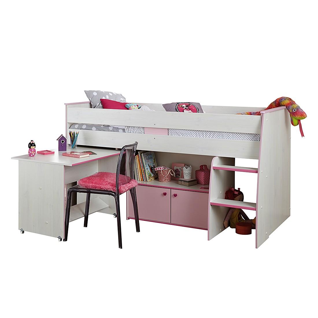 Home 24 - Lit mezzanine zoé - imitation pin blanc, parisot meubles