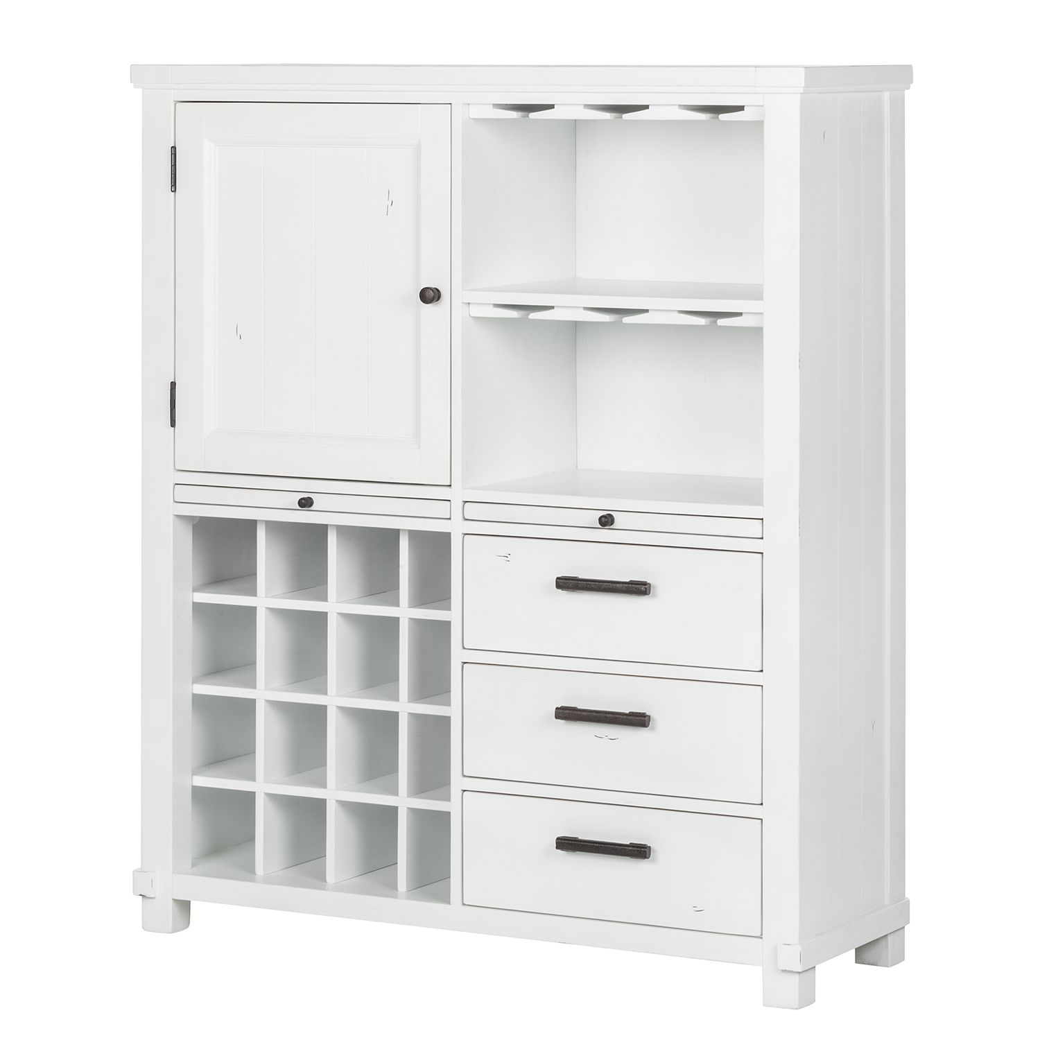 Home 24 - Buffet haut south hampton - acacia partiellement massif - blanc, maison belfort