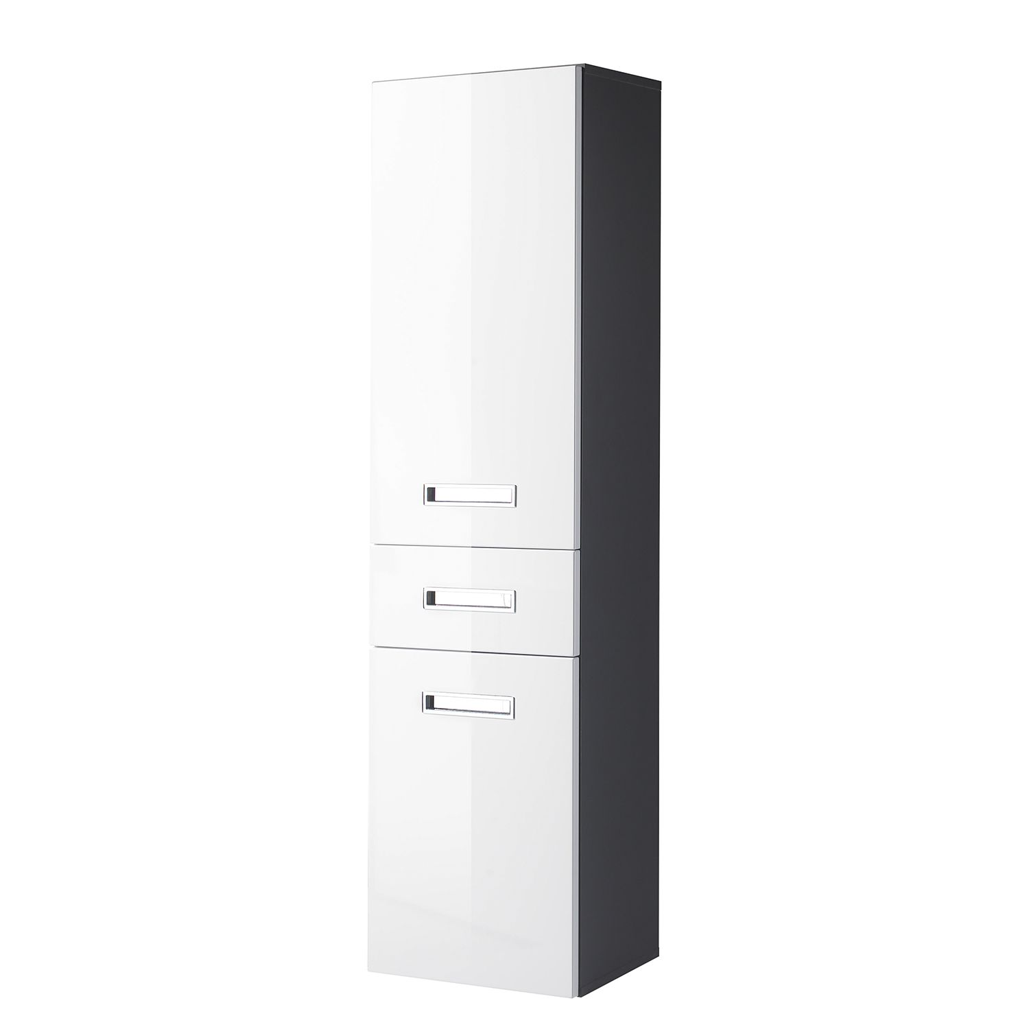 Armoire Braddock - Blanc brillant / Anthracite, mooved
